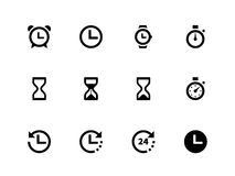 Time and Clock icons on white background. Vector illustration Stock Photography