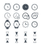 Time and Clock icons on white background. Vector illustration. Royalty Free Stock Photos