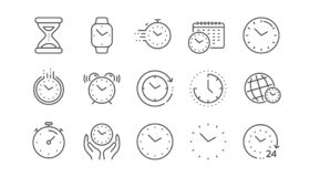 Time and clock line icons. Timer, Alarm and Smartwatch. Linear set. Vector. Time and clock line icons. Timer, Alarm and Smartwatch. Time management, 24 hour royalty free illustration