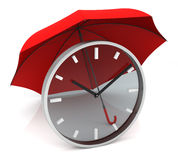 Time Clock with Red Umbrella. Transparent Clock with Red Umbrella. 3D Rendering Stock Photo