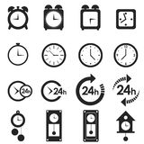 Time and clock set on white Royalty Free Stock Photos