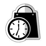 Time clock with shopping bag isolated icon. Vector illustration design Royalty Free Stock Photos