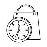 Time clock with shopping bag isolated icon. Vector illustration design Royalty Free Stock Photography