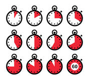 Time, clock, stopwatch red  icons set Stock Photos