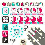 Time - Clock Vector Symbols Set Royalty Free Stock Image