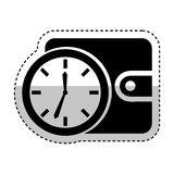 Time clock with wallet isolated icon Royalty Free Stock Photography