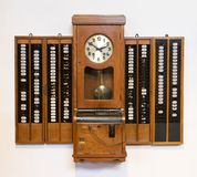 Time clock on a white background. Vintage time clock on a white background Royalty Free Stock Image