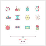 Time and clocks color icons set. Thin line art icons. Royalty Free Stock Image