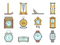 Time and clocks signs set. Watch icons. Flat line style illustrations isolated. From retro to modern collection. Classic stock illustration