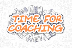 Time For Coaching - Cartoon Orange Text. Business Concept. Royalty Free Stock Photography