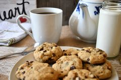 Time for coffee. Chocolate chip cookies and coffee good for coffee break Stock Photos