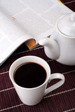 Time for coffee. Morning coffe with magazine, still life Stock Images