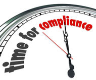 Time for Compliance Words Clock Follow Rules Guidelines Laws Pol Royalty Free Stock Images