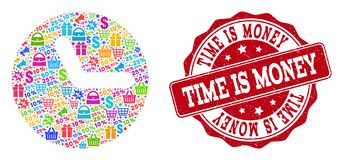 Time Composition of Mosaic and Grunge Stamp for Sales stock illustration
