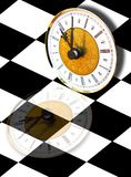 Time concept. Classic clock with reflection over checkers surface Royalty Free Stock Photography