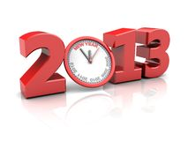 Time concept. Red number 2013 with clock, new year concept Stock Photos