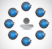 Time concept around avatar illustration design Stock Image