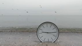 Time Concept Background, Wall Clock in Sand, Man`s Hand, Sea Gulls. Time Concept Background, Man`s Hand Moving White Wall Clock with Black Arrows, In Sand Beach stock video footage