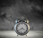 Time concept. Big old-style clock against city modern background Stock Photography