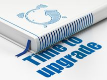 Time concept: book Alarm Clock, Time To Upgrade on white background. Time concept: closed book with Blue Alarm Clock icon and text Time To Upgrade on floor royalty free illustration