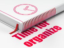 Time concept: book Clock, Time For Organize on white background. Time concept: closed book with Red Clock icon and text Time For Organize on floor, white stock illustration