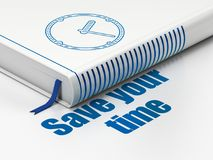 Time concept: book Clock, Save Your Time on white background. Time concept: closed book with Blue Clock icon and text Save Your Time on floor, white background royalty free illustration
