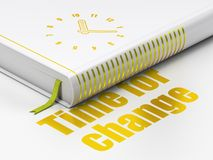 Time concept: book Clock, Time For Change on white background. Time concept: closed book with Gold Clock icon and text Time For Change on floor, white background stock illustration