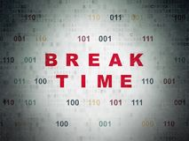 Time concept: Break Time on Digital Data Paper background Royalty Free Stock Photos