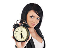 Time concept. Business woman clock Stock Photos