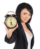 Time concept. Business woman clock royalty free stock photos