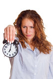 Time concept. Business woman clock Royalty Free Stock Image