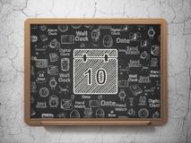 Time concept: Calendar on School board background Stock Images