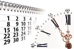 Time concept with clock and calendar. Composition of clock and calendar white background Royalty Free Stock Photos