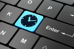 Time concept: Clock on computer keyboard background. Time concept: computer keyboard with Clock icon on enter button background, 3D rendering Stock Photography