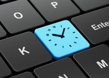 Time concept: Clock on computer keyboard background. Time concept: computer keyboard with Clock icon on enter button background, 3D rendering Royalty Free Stock Photo