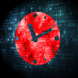 Time concept: Clock on digital background Stock Photos