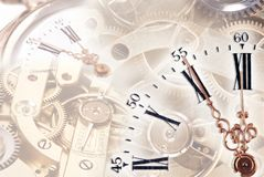 Time concept with clock. Clock with gears in the background Stock Images