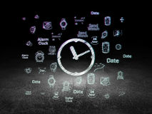 Time concept: Clock in grunge dark room Royalty Free Stock Photos
