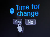 Time concept: Clock icon and Time for Change on. Time concept: buttons yes and no with pixelated Clock icon, word Time for Change and Hand cursor on digital Royalty Free Stock Photos