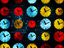 Time concept: Clock icons on Digital background. Time concept: Pixelated multicolor Clock icons on Digital background, 3d render Stock Images