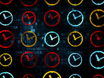 Time concept: Clock icons on Digital background Royalty Free Stock Photography