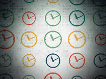 Time concept: Clock icons on Digital Paper. Time concept: Painted multicolor Clock icons on Digital Paper background, 3d render Royalty Free Stock Image