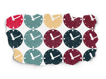 Time concept: Clock icons on Torn Paper background Stock Photography