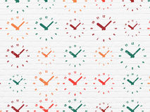 Time concept: Clock icons on wall background Stock Photo
