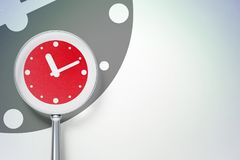 Time concept:  Clock with optical glass on digital background. Time concept: magnifying optical glass with Clock icon on digital background, empty copyspace for Stock Photography