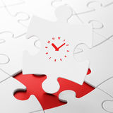 Time concept: Clock on puzzle background. Time concept: Clock on White puzzle pieces background, 3d render Stock Photography