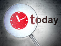Time concept: Clock and Today with optical glass Royalty Free Stock Image