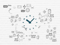Time concept: Clock on wall background Stock Photo