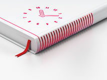 Time concept: closed book, Clock on white. Time concept: closed book with Red Clock icon on floor, white background, 3d render vector illustration