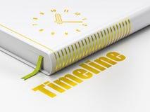 Time concept: book Clock, Timeline on white background. Time concept: closed book with Gold Clock icon and text Timeline on floor, white background, 3D rendering vector illustration